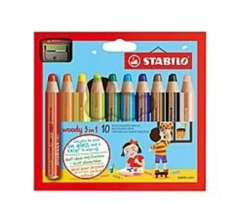 STABILO STABILO WOODY COLORED PENCIL 10PK W/ SHARPENER