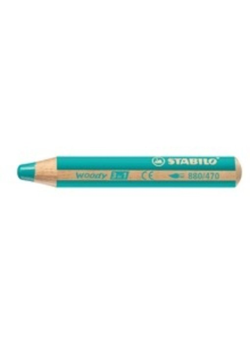 STABILO WOODY 3 IN 1 PENCIL 470 TURQUOISE
