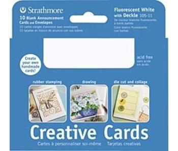 STRATHMORE CREATIVE CARDS FLUORESCENT WHITE DECKLE 10PK