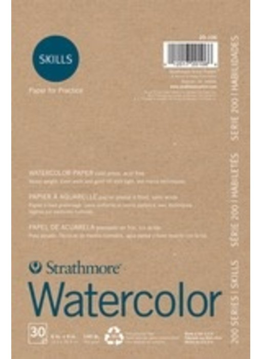 STRATHMORE SKILLS RECYCLED WATERCOLOR PAD 6x8 140LB