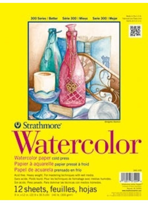 STRATHMORE WATERCOLOR PAD CP 9x12 12 SHEETS