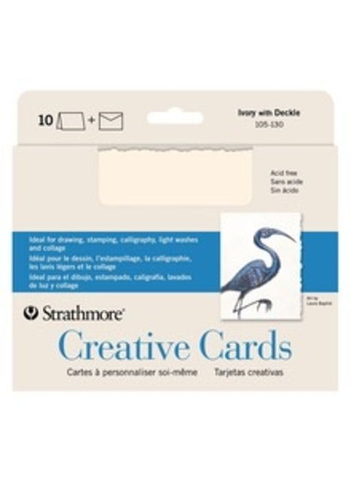 STRATHMORE CREATIVE CARDS IVORY WITH DECKLE 10PK