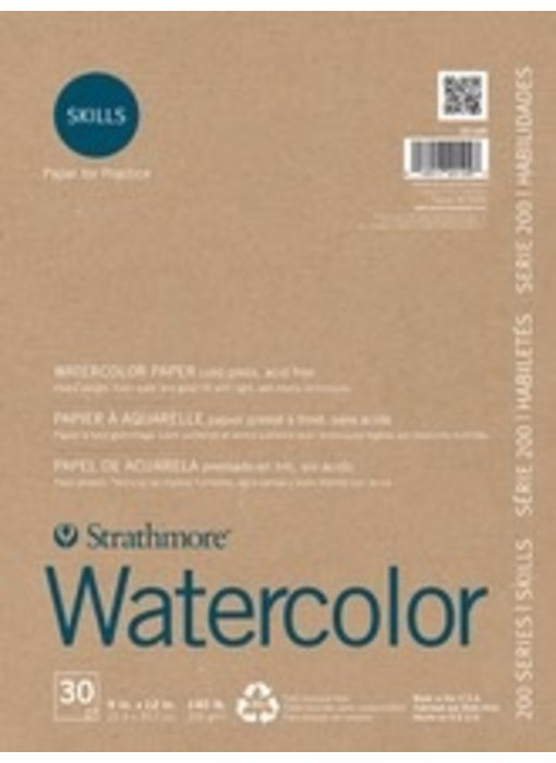 STRATHMORE SKILLS RECYCLED WATERCOLOR PAD 9x12 140LB