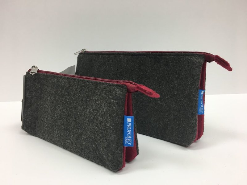 TOYA PROFOLIO MIDTOWN POUCH 5X9 CHARCOAL/MAROON