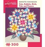 POMEGRANATE ARTPIECE PUZZLE 300 PIECE: NAKAMURA CATS, RABBITS, BIRDS, FISH & FLOWERS