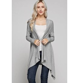 GRAY OPEN FRONT CARDIGAN L