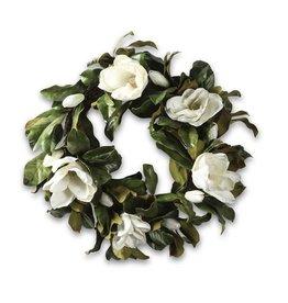 """30"""" Round Magnolia Wreath White"""