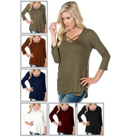 CRISS CROSS FRONT 3/4 SLEEVE TOP