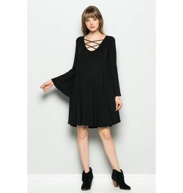 CROSS FRONT BELL SLEEVE DRESS
