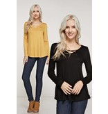 Long Sleeve Criss Cross Top Amber Marie And Company