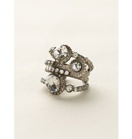 ANTIQUE SILVER CRYSTAL RING