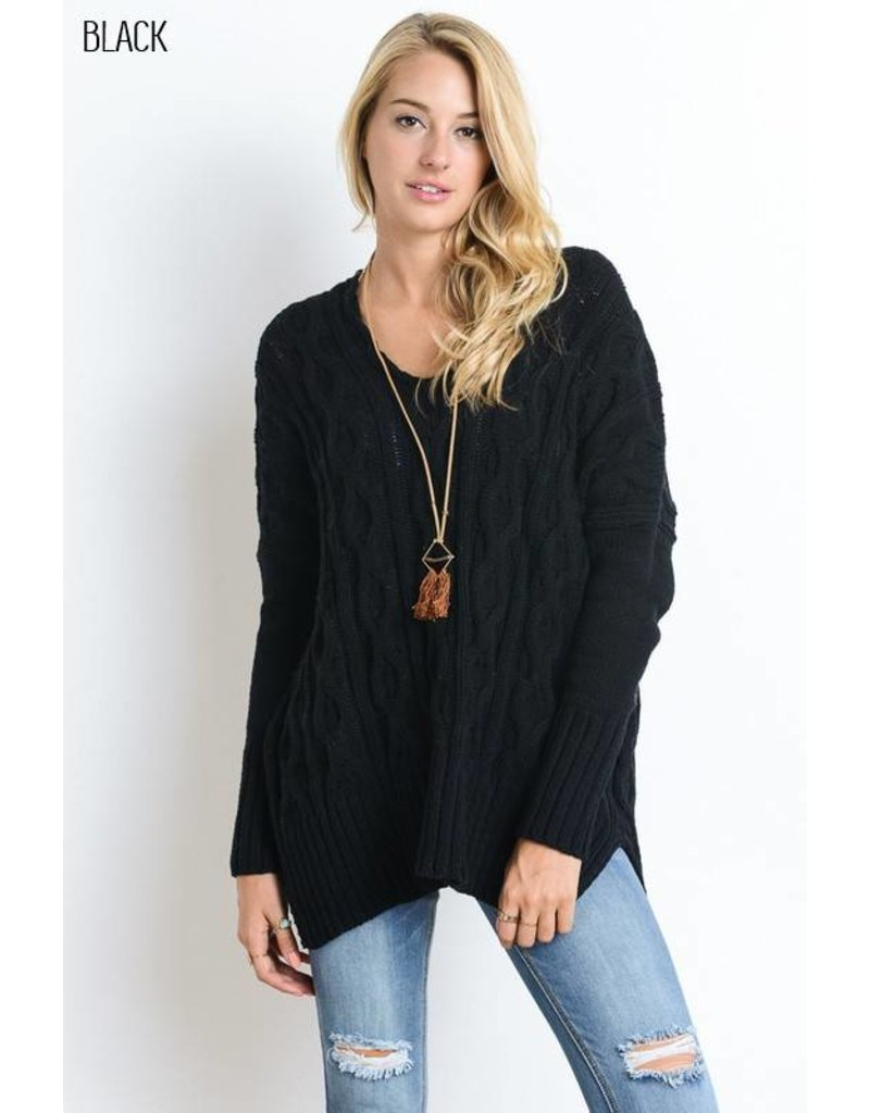Black Cable Knit V-Neck Sweater and Handkerchief side - Amber ...