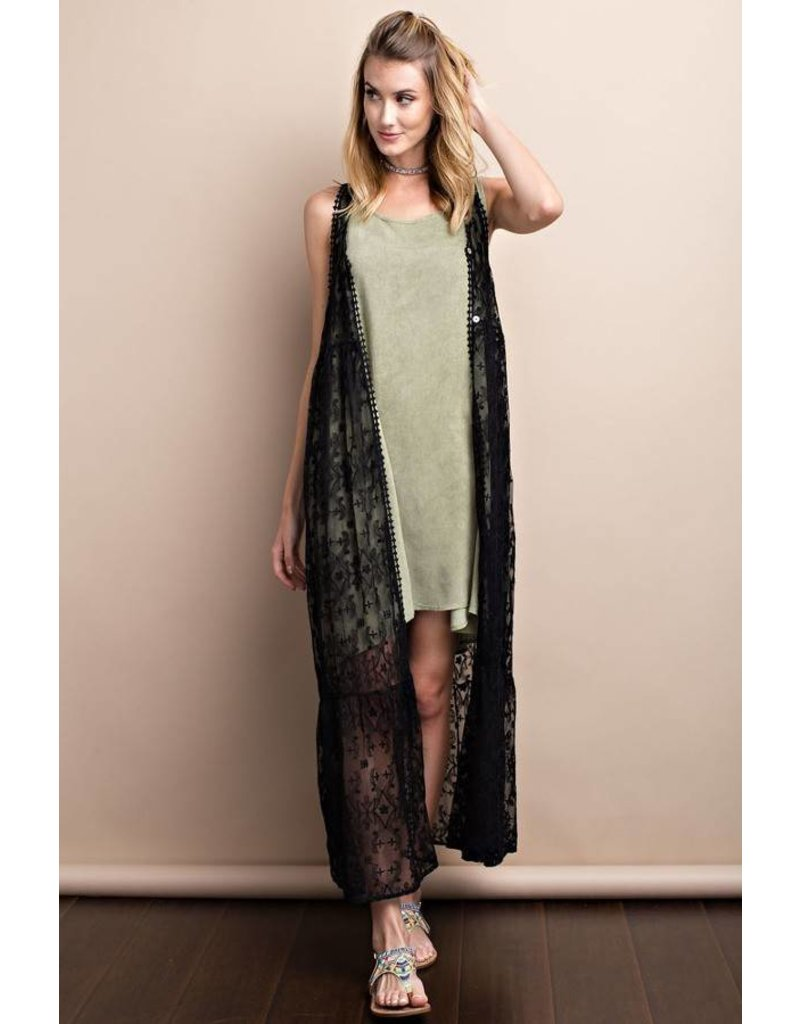 Sleeveless Lace Maxi Cardigan - Amber Marie and Company