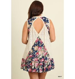 NAVY SLEEVELESS FLORAL PRINT DRESS WITH LACE