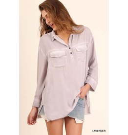 FADED LONG SLEEVE POCKET BUTTON UP TUNIC