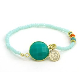 LAURA JANELLE RGLB DAINTY FOCAL TEAL FACET COIN BEADED BRACELET