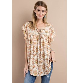 CAP SLVS PRINTED RAYON CHALLIE LOOSE FIT TUNIC