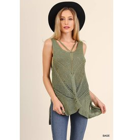 LACE TANK W/ CROSSED BACK