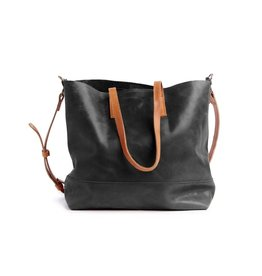 Fashionable ABERA CROSSBODY TOTE BLACK & COGNAC