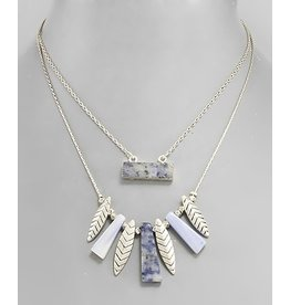 STONE BAR & MARQUISE NECKLACE