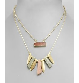 MARQUISE METAL & STONE LAYERED NECKLACE