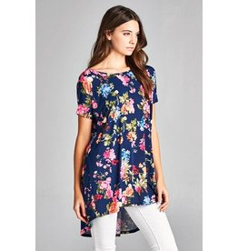 HIGH LOW FLORAL TUNIC TOP W/ CRISS CROSS BACK