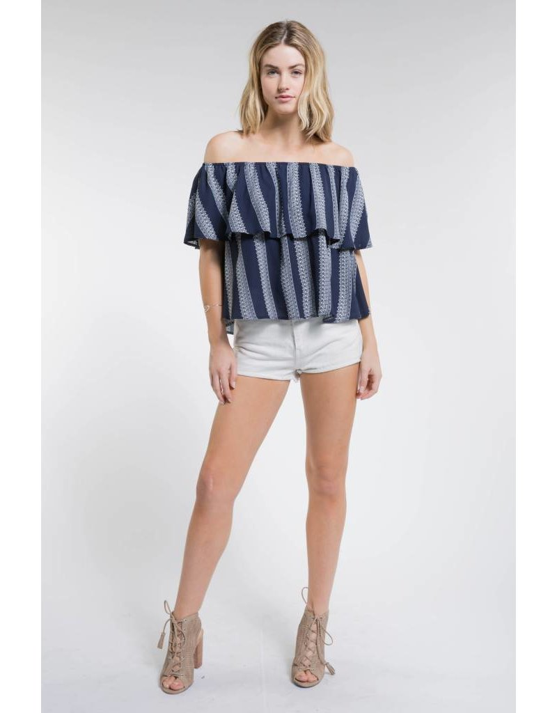 Nina Off the Shoulder Top - Navy - Amber Marie and Company