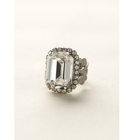 SORRELLI SORRELLI ANTIQUE SILVER CRYSTAL EMERALD CUT STONE COCKTAIL RING