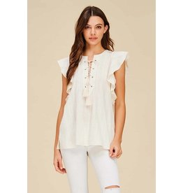 NATURAL LACE UP COTTON TOP