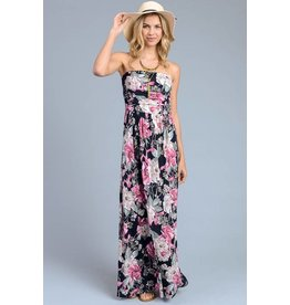 STRAPLESS VINTAGE PRINTMAXI DRESS WITH SIDE POCKETS