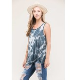 ARIA TIE DYE SLEEVELESS FRONT KNOTTED TUNIC TOP CHARCOAL