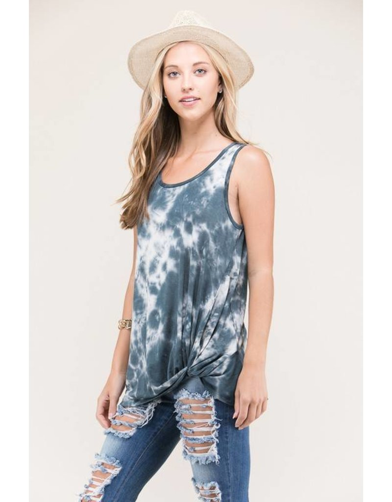 AMERICAN CHIC ARIA TIE DYE SLEEVELESS FRONT KNOTTED TUNIC TOP CHARCOAL