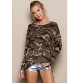 "AMERICAN CHIC ""HAZEL"" LONG SLEEVE CAMO TUNIC TOP ARMY OLIVE"