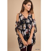 FLORAL PRINT VNECK TUNIC WITH CUTOUT SLEEVES