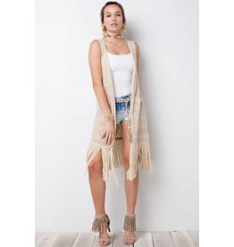 LAURA - SWEATER KNIT CARDIGAN W/FRINGE