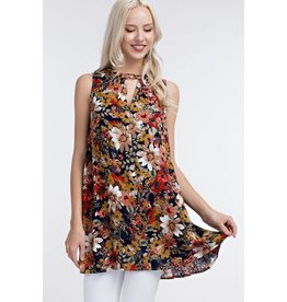 EESOME ANITA CUTOUT FRONT FLORAL TUNIC DRESS