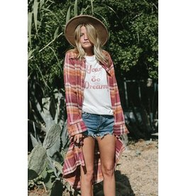 BY TOGETHER PLAID COLLARED BUTTON DOWN L/S MAXI