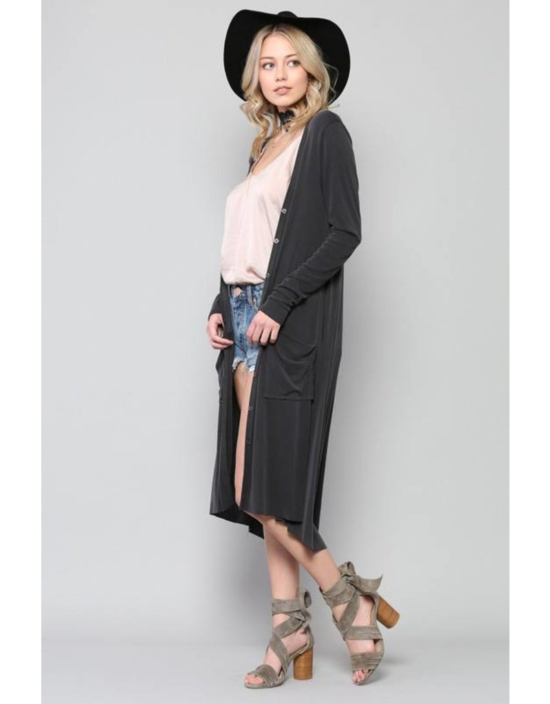 BY TOGETHER RIBBED WASHED MODAL CUPRO BUTTON DOWN MAXI CARDIGAN ...