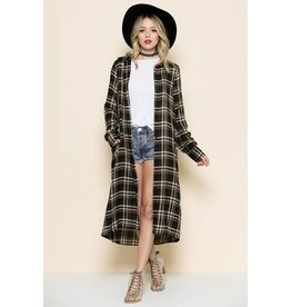 PLAID BUTTON DOWN L/S COLLARED W/ POCKET MAXI TOP
