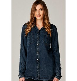 DEAR JOHN JEANS MISTY DENIM SNAP SHIRT