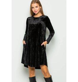 CHRISTINA VELVET DRESS W/ POCKETS