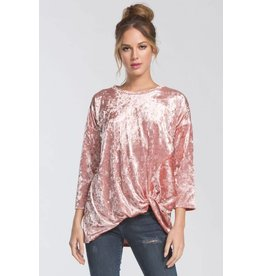 BRIANA TWIST FRONT CRUSHED VELVET TOP