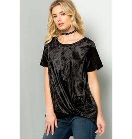 TWISTED FRONT VELVET S/S TOP
