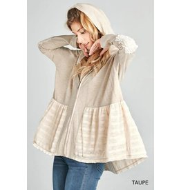 RUFFLE LACE CONTRAST FRENCH TERRY HOODY JACKET
