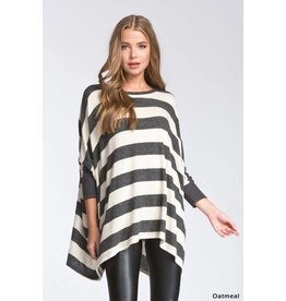 BOXY FIT 3/4 SLEEVE STRIPED SOFT FUZZY TOP