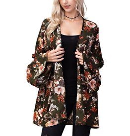 FLORAL BELL SLEEVED KIMONO CARDIGAN