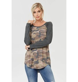 CAMO TUNIC TOP W/ SOLID LONG RAGLAN SLEEVES