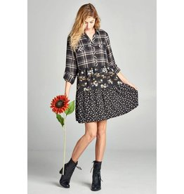 LONG SLEEVE COLLAR BUTTON DOWN DRESS