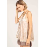 LACE DETAILED CRUSHED VELVET CAMI