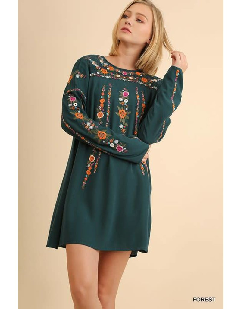 L/S FLORAL EMBROIDERED DRESS W/ PATTERNED YOKE